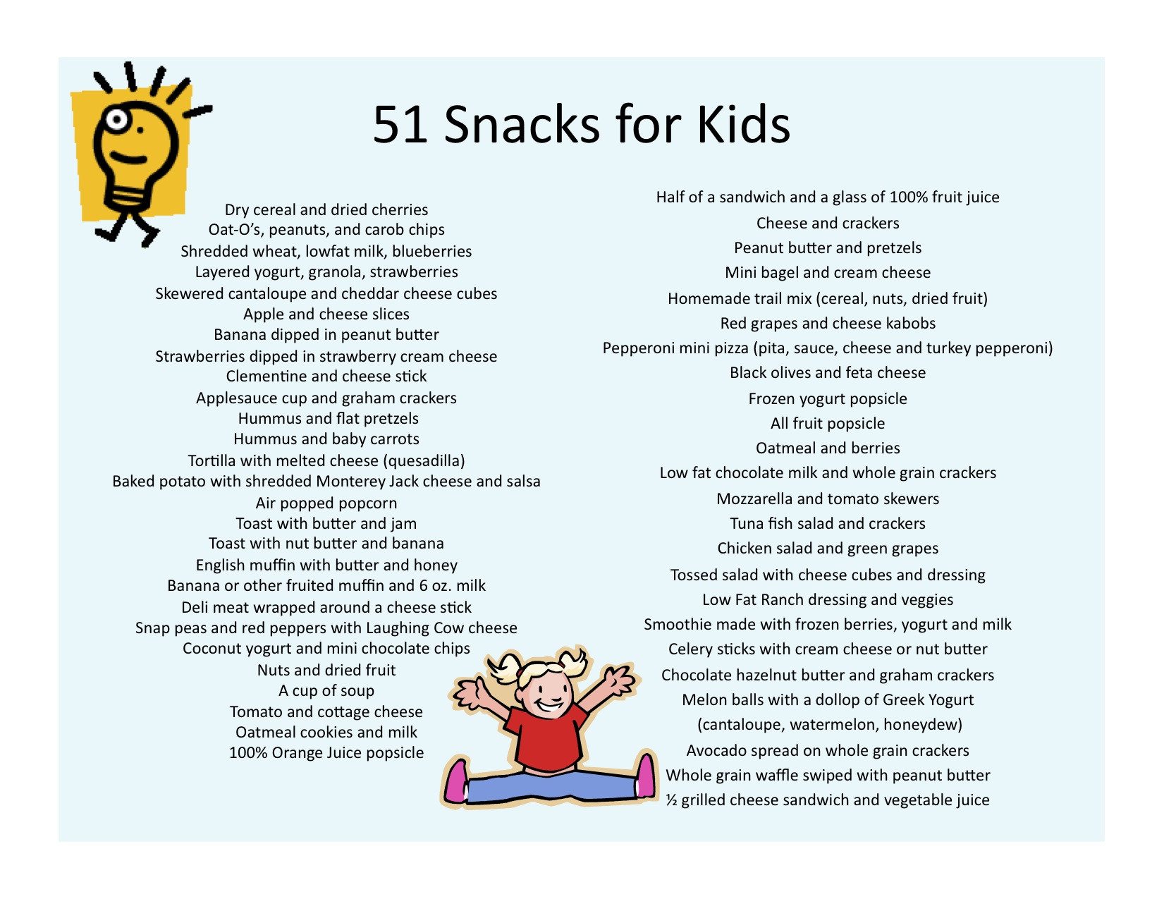List Of Healthy Snacks  51 Snack Ideas for Kids Jill Castle