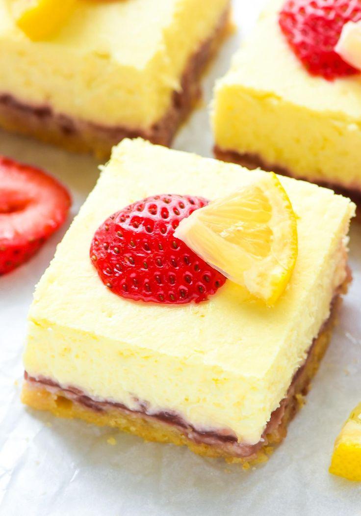 Lite Summer Desserts  Strawberry Lemon Cream Cheese Bars Recipe