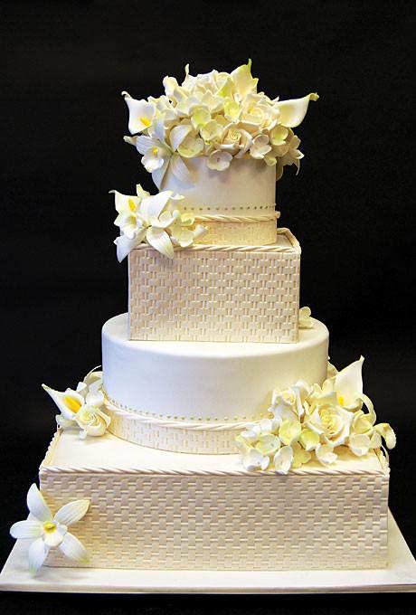 Local Wedding Cakes  Basketweave Wedding Cake with Flowers