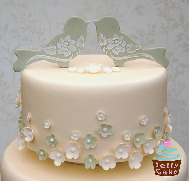 Love Birds Wedding Cakes  Love Birds and Blossoms Wedding Cake