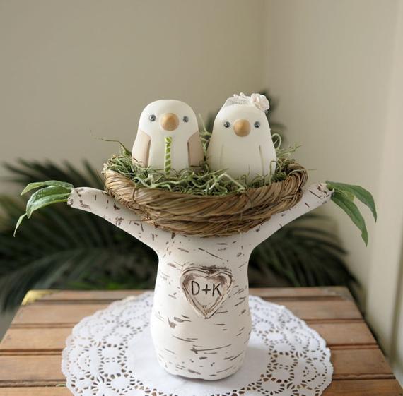 Love Birds Wedding Cakes  Wedding Cake Topper Love Birds with Tree and Nest Medium