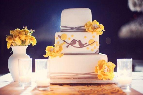 Love Birds Wedding Cakes  Yellow and Gray inspired Love Birds wedding Weddingbee
