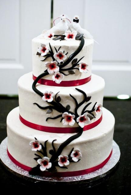 Love Birds Wedding Cakes  Wedding Cake with Love Birds toppers and cascading tree