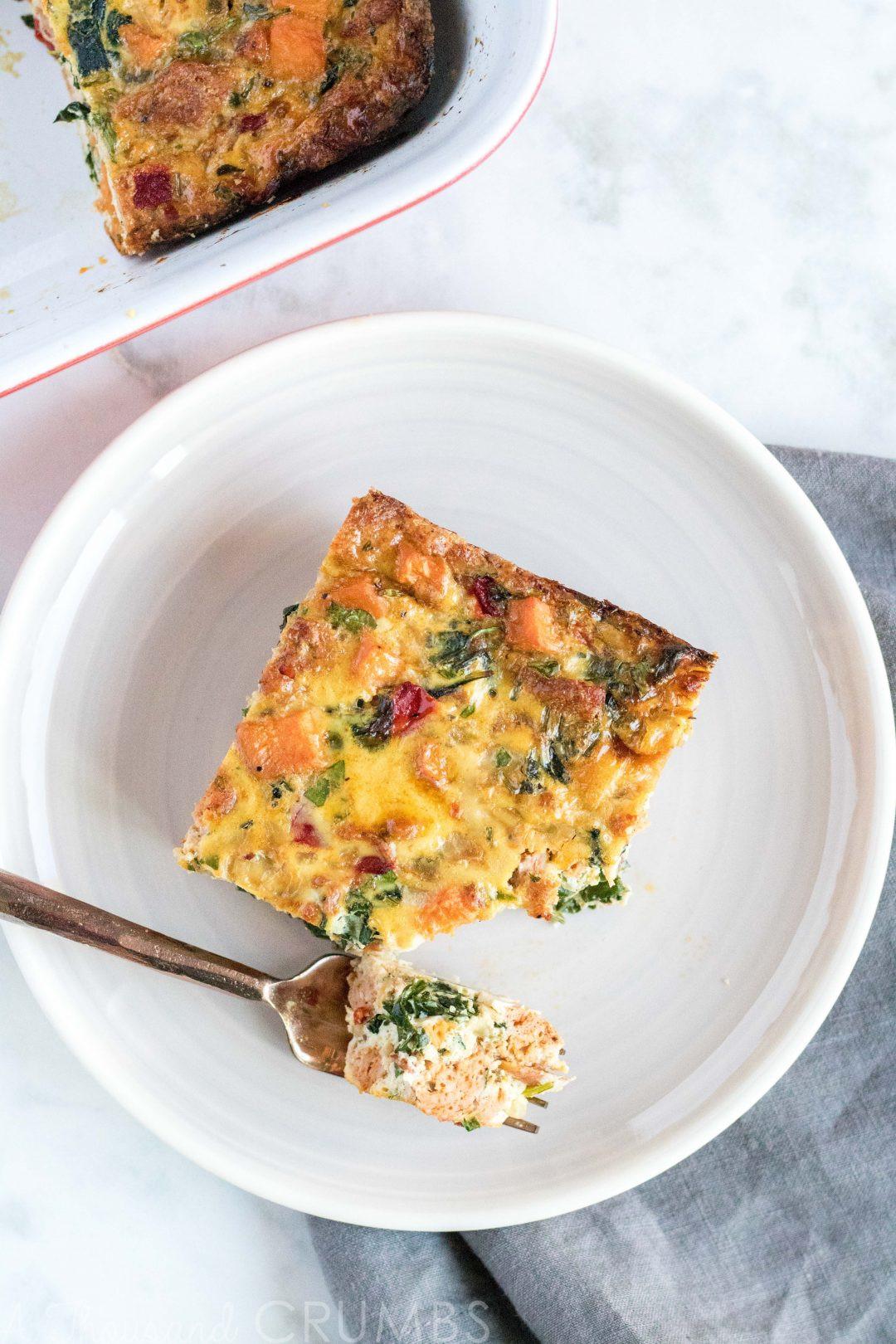 Make Ahead Breakfast Casserole Healthy  Make Ahead Healthy Breakfast Casserole from A Thousand Crumbs