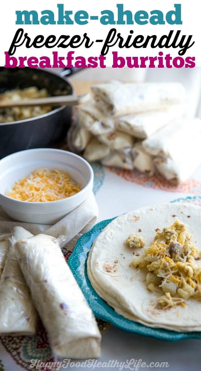 Make Ahead Breakfast Healthy  Make Ahead Freezer Friendly Breakfast Burritos Happy