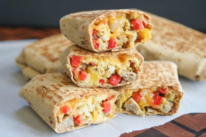 Make Ahead Healthy Breakfast  Chicken Apple Sausage Breakfast Burritos Freezable Make