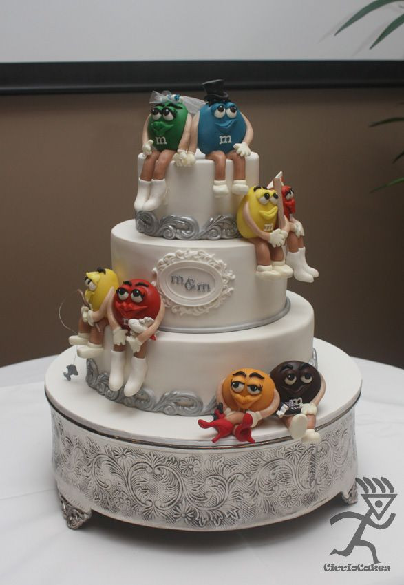 M&M Wedding Cakes  M Wedding Cake M characters made from Modelling