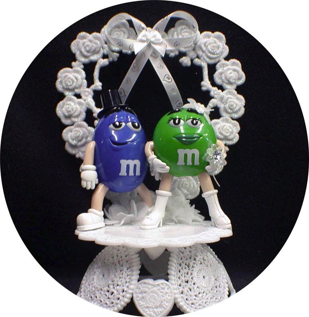 M&M Wedding Cakes  M&M M & M candy Wedding Cake topper Lot Glasses knife
