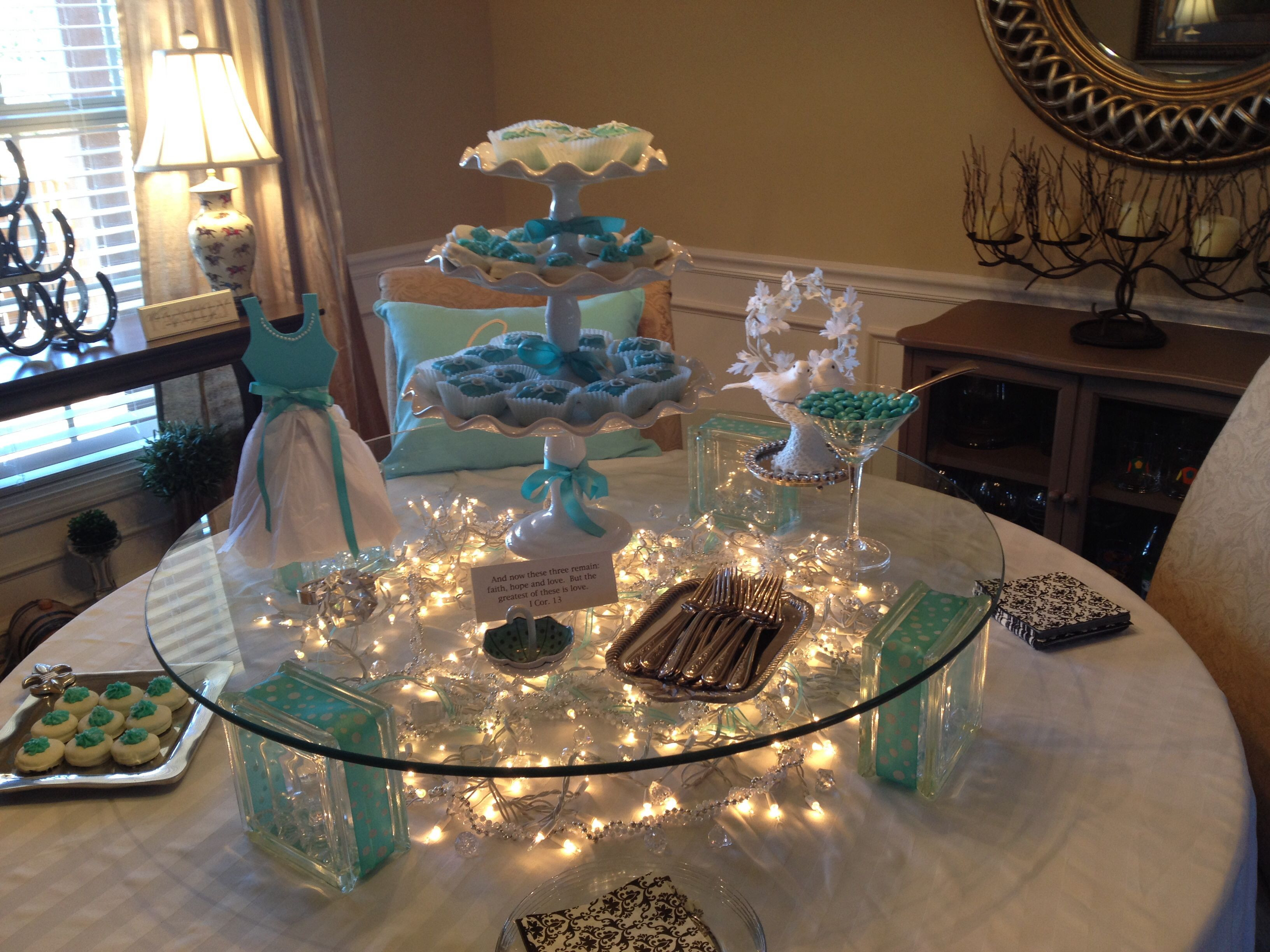 M&M Wedding Cakes  Tiffany Blue wedding shower tablescape