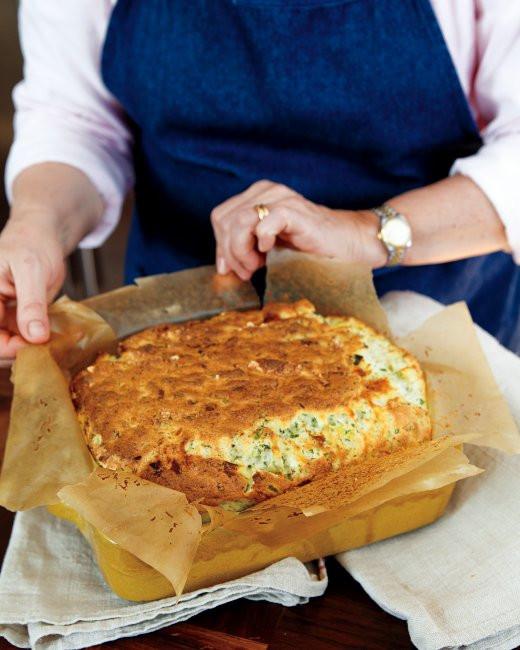Martha Stewart Easter Dinner Menu  Cheese Leek and Herb Souffle Casserole Recipe from