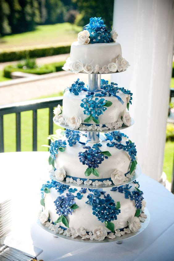 Marzipan Wedding Cakes  Blue wedding cake white marzipan and blue sugar flowers