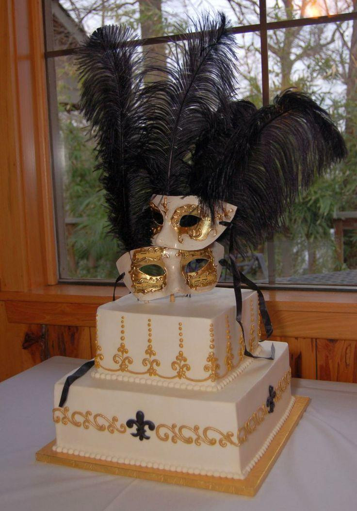 Masquerade Wedding Cakes  Gold Wedding Gold Masquerade Wedding Cake