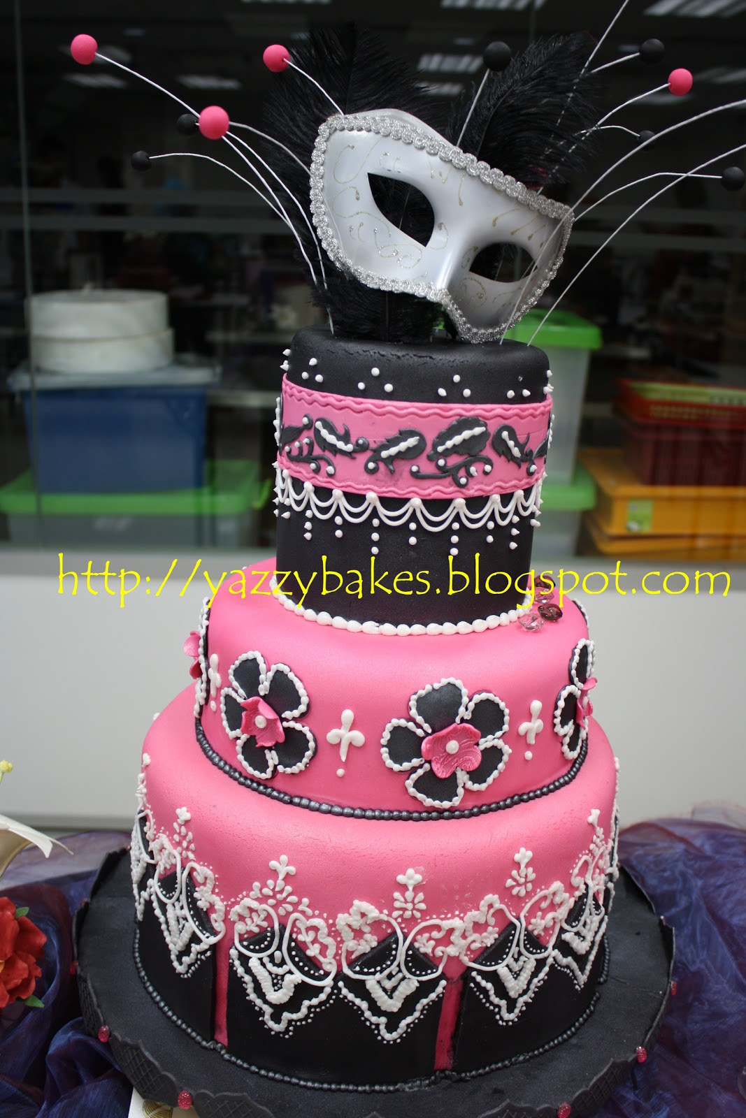 Masquerade Wedding Cakes  Yazzy Bakes Masquerade Themed Wedding Cake