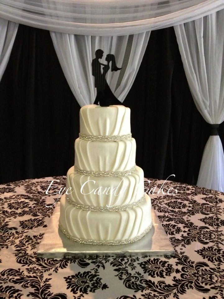 Meijers Wedding Cakes  Love how the tucked fondant looks like real material