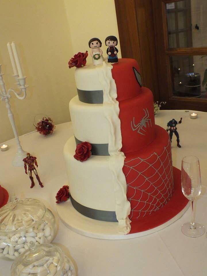 Men Wedding Cakes  Superhero wedding cake Half Spider Man and half pretty
