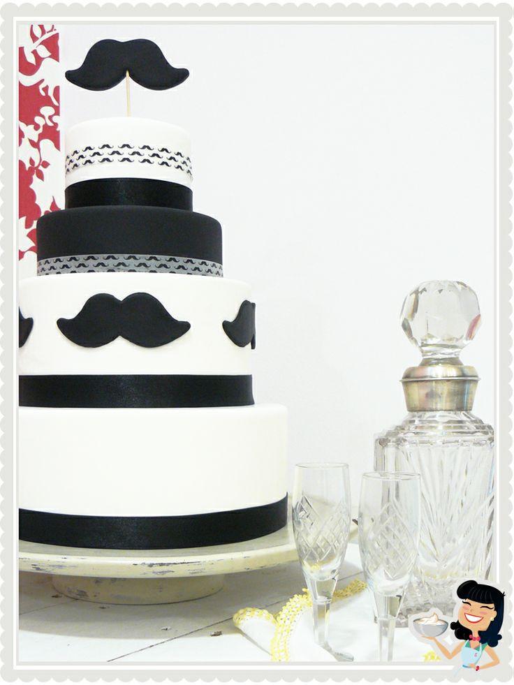 Men Wedding Cakes  Moustache Gay Wedding Cake by Sweetmama Mad Men Style