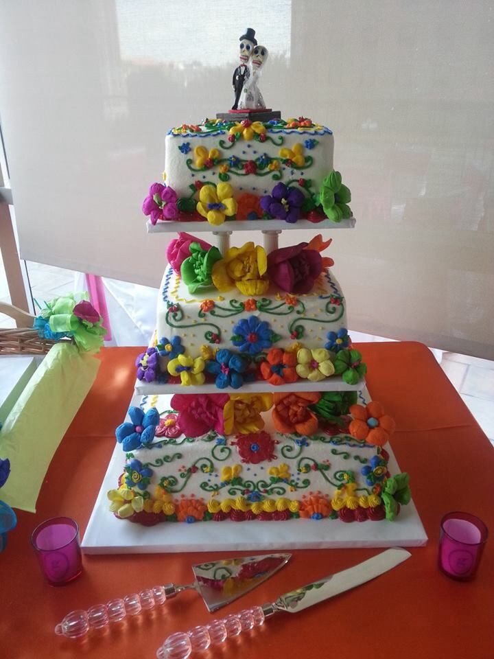 Mexican Wedding Cakes Allrecipes  Mexican themed wedding cake Buttercream icing with