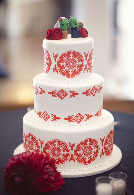 Mexican Wedding Cakes  Wedding Cakes Romantic Red and White Wedding Cake