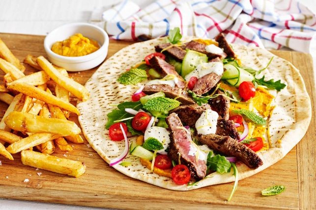 Middle Eastern Beef Recipes  Middle Eastern beef and hummus wraps recipe