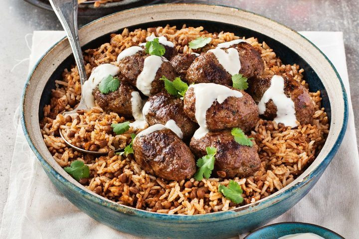 Middle Eastern Beef Recipes  Middle Eastern lamb koftas with aromatic lentil rice