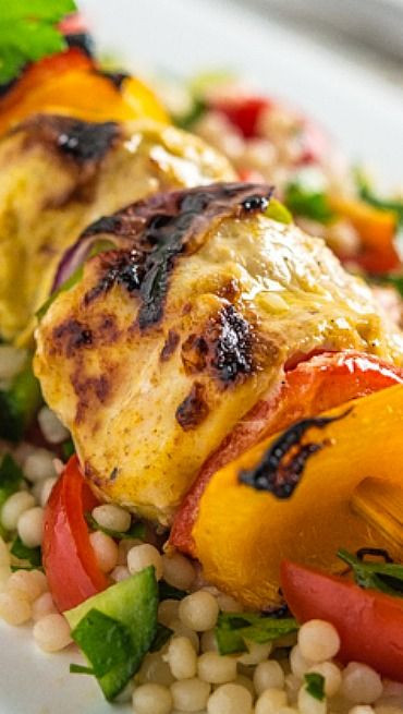 Middle Eastern Chicken Kabob Recipes  Middle Eastern Chicken Kabobs with Israeli Couscous