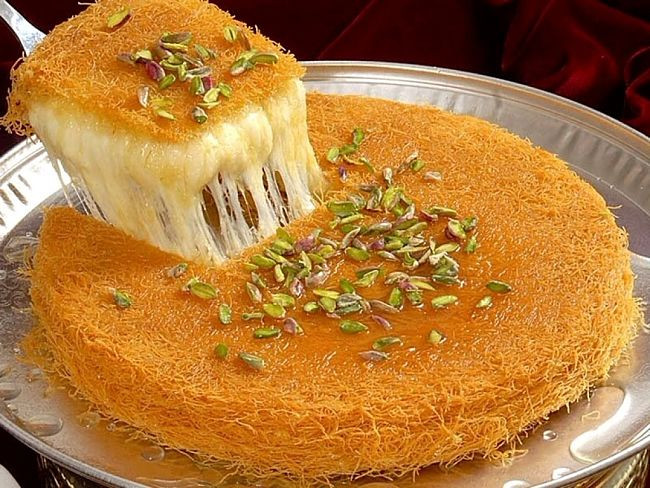 Middle Eastern Dessert Recipe  Knafeh Recipes Middle Eastern Syrup Soaked Crisp Crust