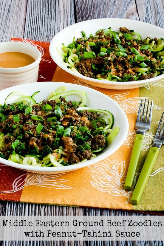 Middle Eastern Ground Beef Recipe  Middle Eastern Ground Beef Zoodles with Peanut Tahini