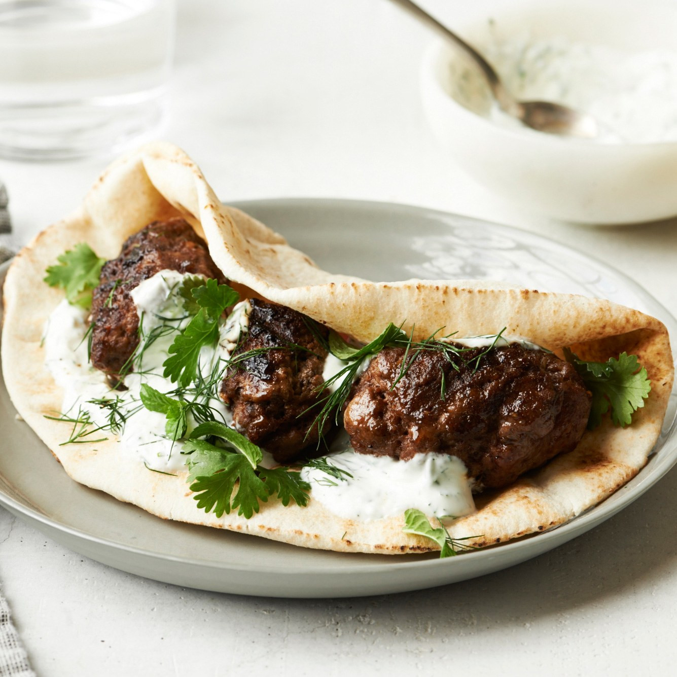 Middle Eastern Ground Lamb Recipes  Spiced Middle Eastern Lamb Patties with Pita and Yogurt