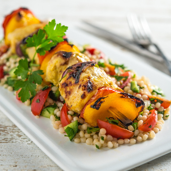 Middle Eastern Kabobs Recipes  Middle Eastern Chicken Kabobs with Israeli Couscous