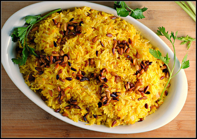 Middle Eastern Rice Recipes  Saffron Rice with Golden Raisins and Pine Nuts