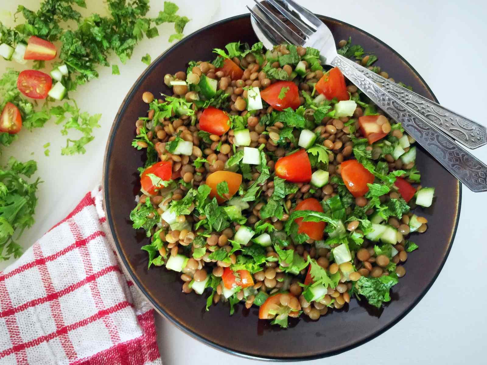 Middle Eastern Salad Recipes  Lentil Tabbouleh Recipe Middle Eastern Ve arian Salad