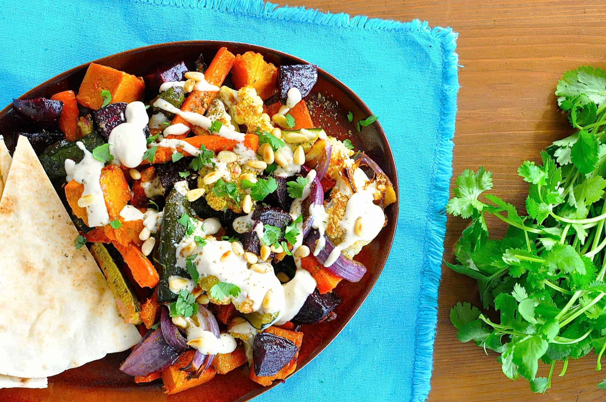Middle Eastern Veggie Recipes  Middle Eastern Roasted Ve ables with Tahini Drizzle