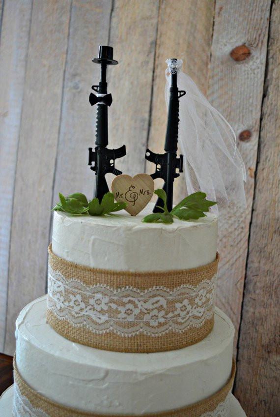 Military Wedding Cakes  Machine gun weapon wedding cake topper army by