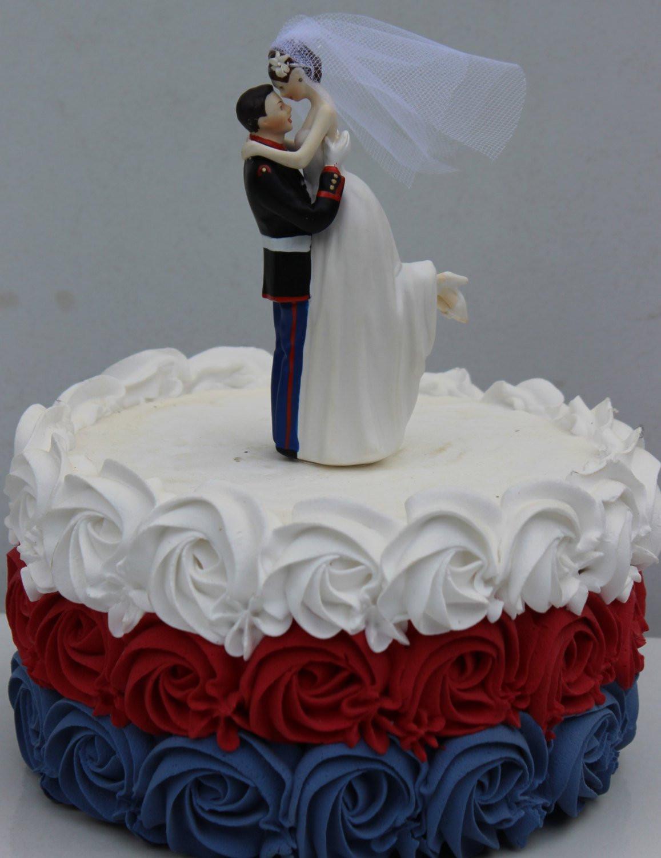 Military Wedding Cakes  Military USMC Marine Corps Wedding Cake Topper Bride uniform