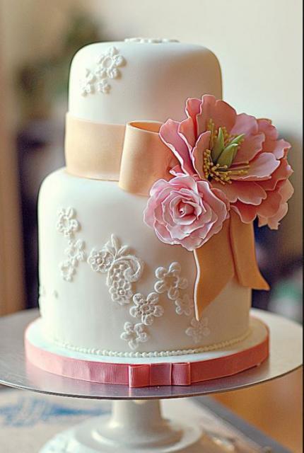 Mini Wedding Cakes  2 tier small mini wedding cake in white with pink ribbon