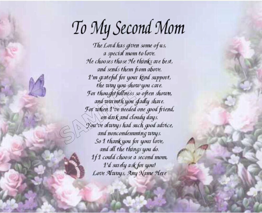 Mother'S Day Desserts Pinterest  TO MY SECOND MOM PERSONALIZED ART POEM MEMORY BIRTHDAY