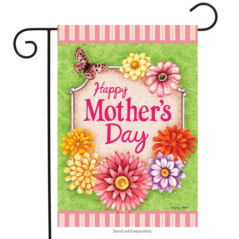 Mother'S Day Desserts Pinterest  Happy Mother s Day Floral Garden Flag Butterfly Flowers 12