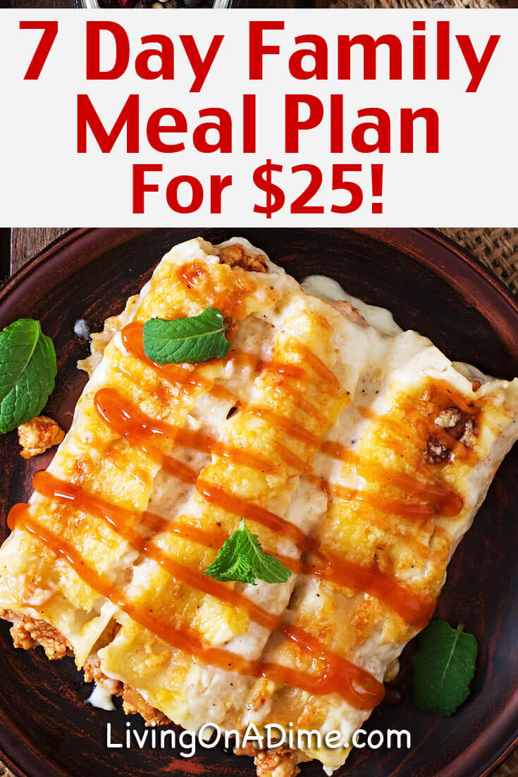 Mother'S Day Dinner Ideas  7 Day Meal Plan for $25 Cheap And Easy Family Meals