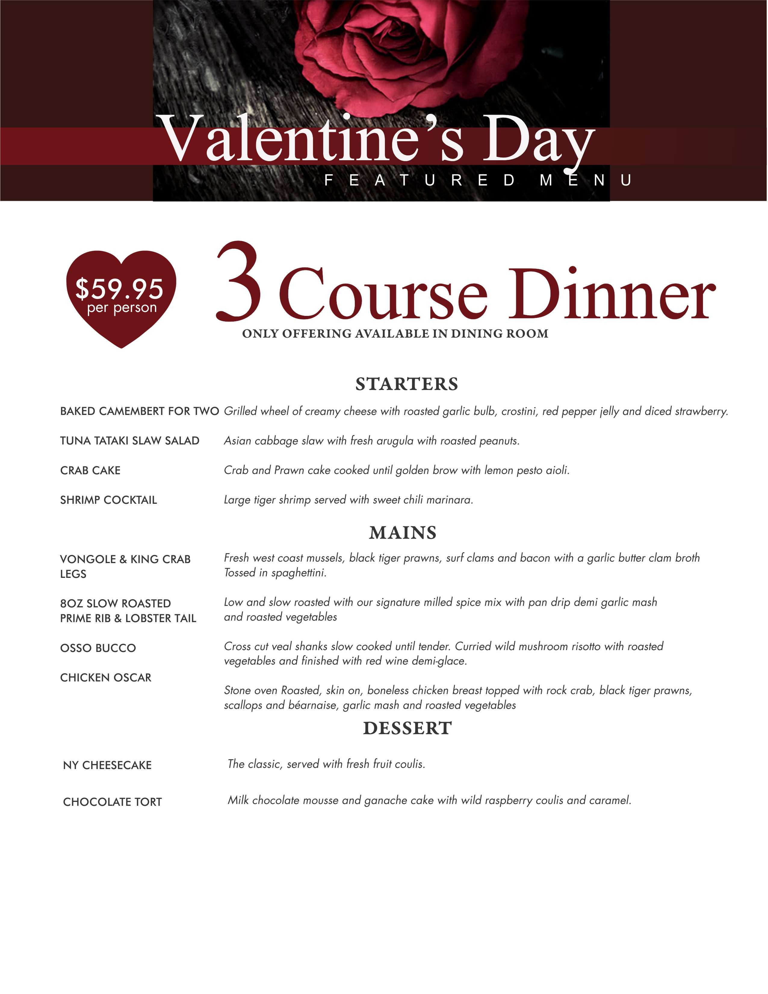 Mother'S Day Dinner Menu  Valentine s Day Menu The Prime Chophouse & Wine BarThe