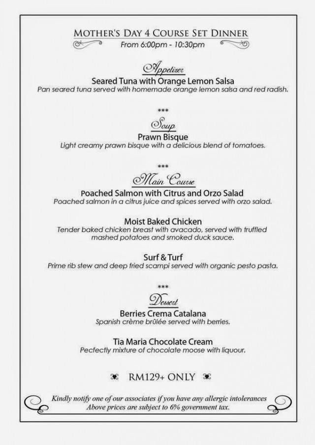 Mother'S Day Dinner Menu  MOTHER'S DAY PROMOTION AT THE LIMESTONE'S FINE DINING IPOH