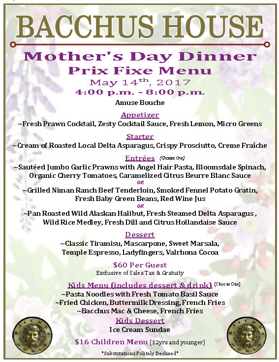 Mother'S Day Dinner Menu  Mother s Day Champagne Brunch & Dinner May 14 2017