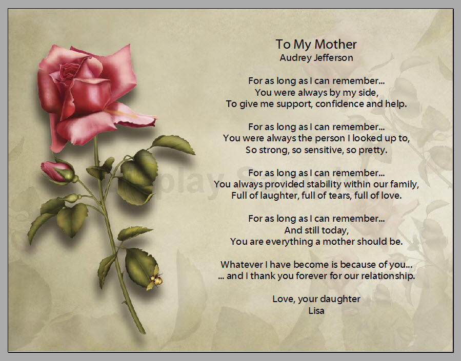 Mother'S Day Dinner Specials  Personalized Red Rose Mother Poem Mother s Day Gift
