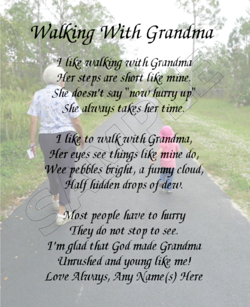 Mother'S Day Dinner Specials  WALKING WITH GRANDMA PERSONALIZED PRINT POEM MEMORY