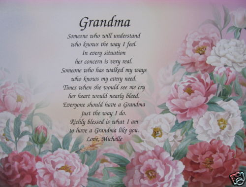 Mother'S Day Dinner Specials  PERSONALIZED POEM FOR GRANDMA GIFTS FOR BIRTHDAY