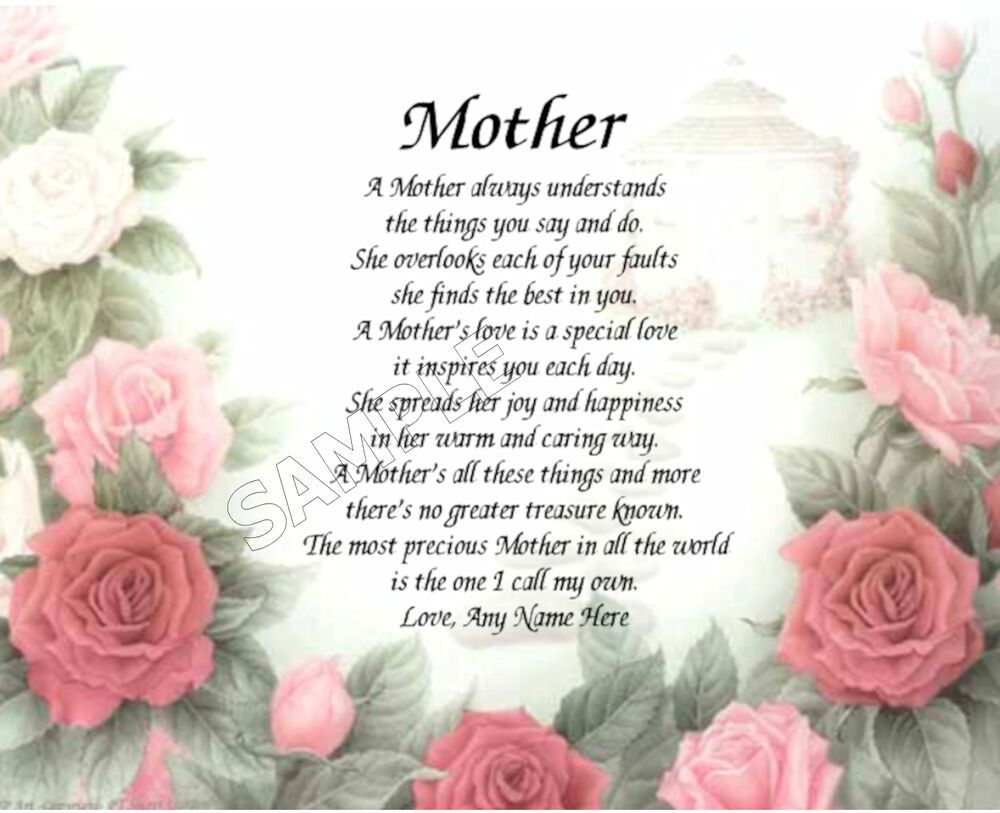 Mother'S Day Dinner Specials  MOTHER FLORAL PERSONALIZED ART POEM MEMORY BIRTHDAY MOTHER