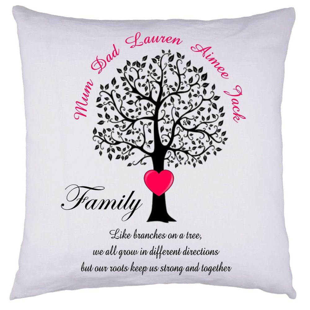 Mother'S Day Dinner Specials  PERSONALISED Family Tree Cushion Cover Gift Valentines