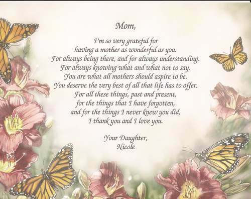 Mother'S Day Dinner Specials  Personalized Poem for Mother Gift for Mother s Day