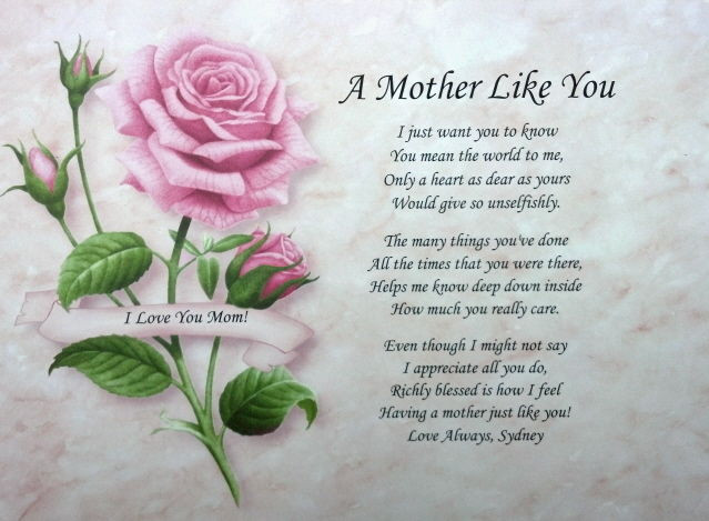 Mother'S Day Dinner Specials  A MOTHER LIKE YOU PERSONALIZED POEM FOR MOM BIRTHDAY