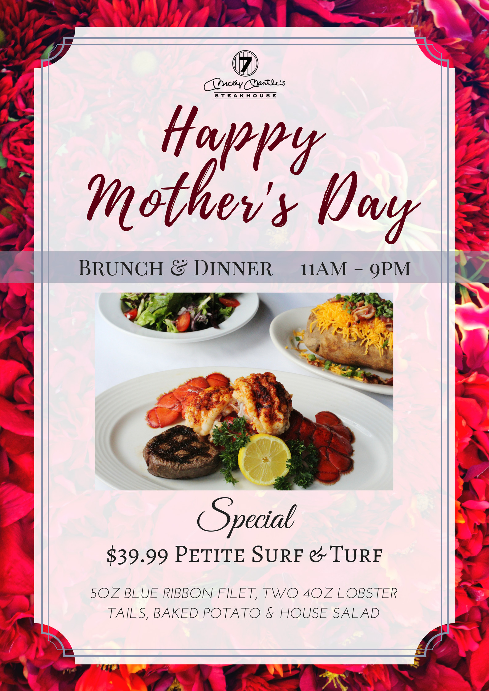 Mothers Day Dinner  Mother s Day Brunch & Dinner OKC Mickey Mantle s Steakhouse
