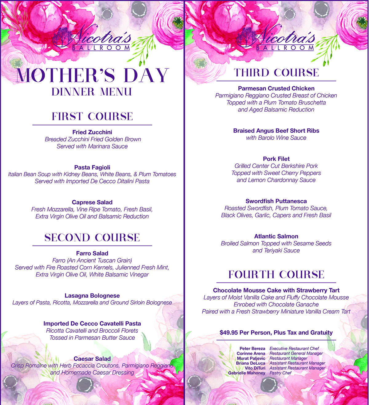Mothers Day Dinner Menu  Mother s Day Lorenzo's Restaurant Bar & Cabaret
